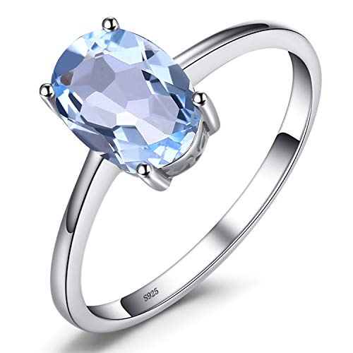 JewelryPalace Oval 1.5ct Natural Sky Blue Topaz Birthstone Solitaire Ring Solid 925 Sterling Silver Size r