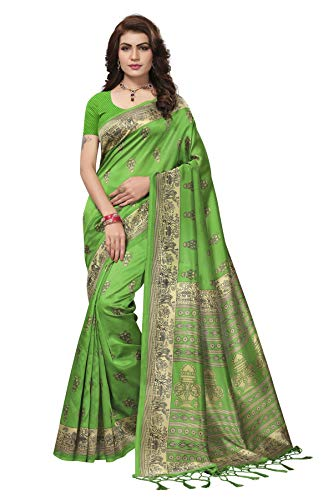 Indian Bollywood Wedding Saree indisch Ethnic Hochzeit Sari New Kleid Damen Casual Tuch Birthday Crop top mädchen Cotton Silk Women Plain Traditional Party wear Readymade Kostüm (Green 4)