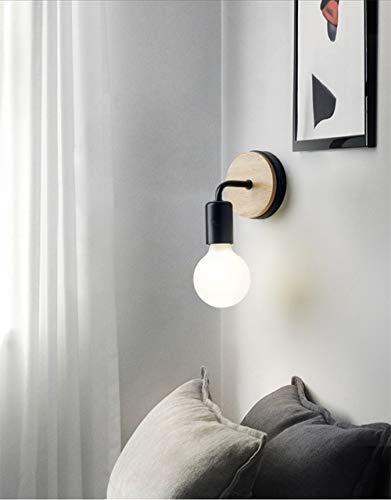 XIHOME Minimalista Roble Decoración de madera Pared Negro Encendido arriba/abajo Lámpara decorativa para interiores Bajador, País rústico Aplique de pared Adaptador Cálidas lámparas E27 Max 60W