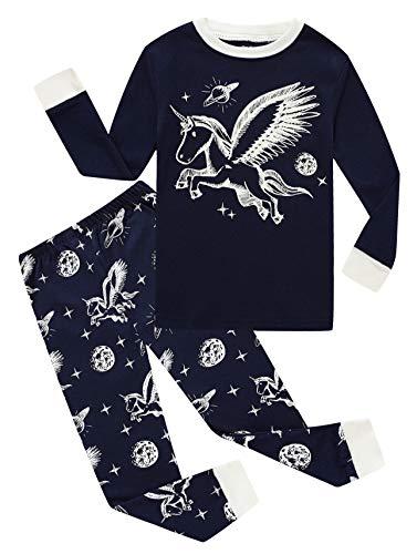 Unicorn Little Girls Glow in The Dark Long Sleeve Pajamas Sets 100% Cotton Sleepwears Kids Pjs Size 6