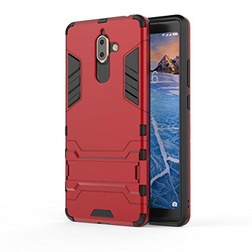 Nokia 7 Plus 2018 Funda, TenYll [con Soporte] [Ultra Silm] 2 en 1 Híbrida Robusto Case, Carcasa a Prueba de Golpes TPU+PC Case para Nokia 7 Plus 2018 -Rojo
