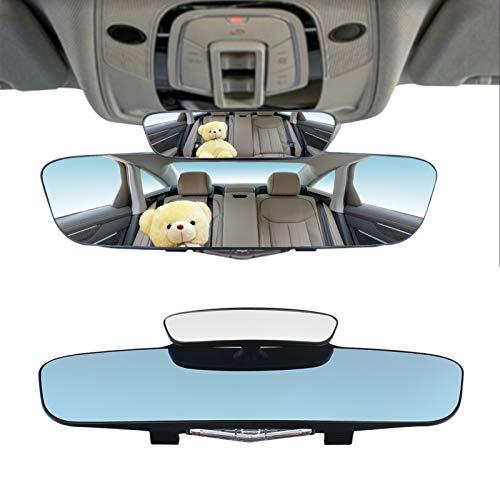 DAYMAKER Anti Glare Rear View Mirror - 13' 330mm Clip-on Blind spot Car Mirror, Convex Curve Interior Rear View Mirror Blue Surface Mirror to Reduce Blind Spot, Auto Interior Rear View Mirror