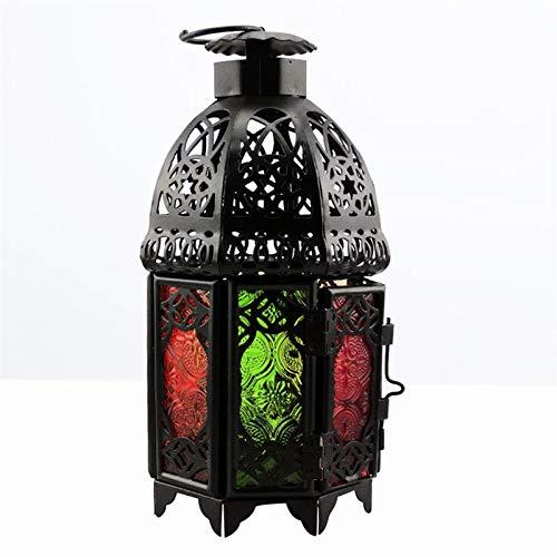 xinyawl Camping-Licht Eisen Kerze Schmiedeeisen Marokkanische Stil Hängende Kerze Sturmlaterne Büro Kronleuchter und Hochzeits-Ornamente