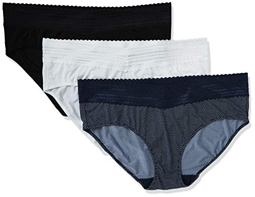 Warner's Women's Blissful Benefits No Muffin Top 3 Pack Hipster Panties, Black/White/Navy Mini Pindot Print, XL