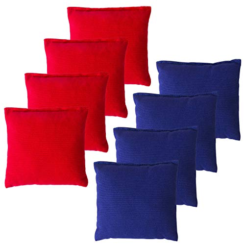 YAADUO Set of 8 Regulation Cornhole Bags, Duck Cloth Double Stiched - Standard Corn Hole Bean Bags for Tossing Game, Includes Tote Bags (Red/Blue)