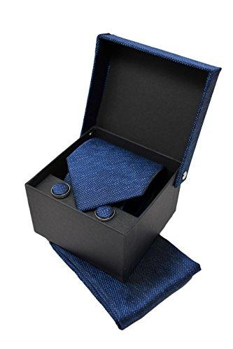 Coffret Ensemble Cravate Homme, Mouchoir de Poche, Boutons de Manchette Bleu Foncé - 100% en Soie - Classique, Elégant et Moderne - (Idéal pour un cad