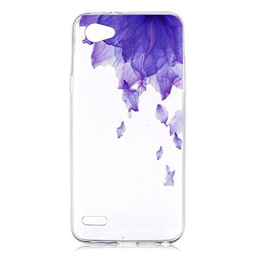 LG Q6móvil, LG Q6Plus móvil, TPU Funda de silicona Purple Flower Petals patrón Back Cover Case Funda Carcasa Carcasa Funda Cover Para LG Q6/Q6Plus (2017)