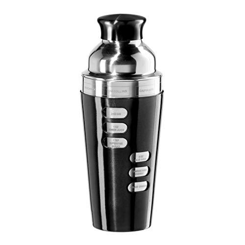 Oggi 23-Ounce Stainless Steel Cocktail Shaker, Black