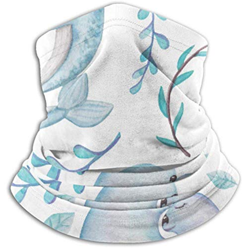 Linger In Mikrofaser Halswärmer-Halswärmer Tube, Ohrenwärmer Stirnband Gesichtsmaske Romantisches Muster Wale Dichtungen