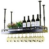 Muebles para el hogar Estantes para copas de vino Porta botellas de vino para colgar en la pared de metal |Botelleros de techo |Altura ajustable |Soporte para botella de vino para colgar en la p
