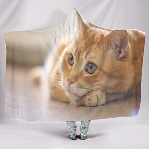 Chicici Fashion Manta con capucha impresa de gato naranja – Poncho portátil para niños para todas las estaciones blanco 50 x 60 pulgadas
