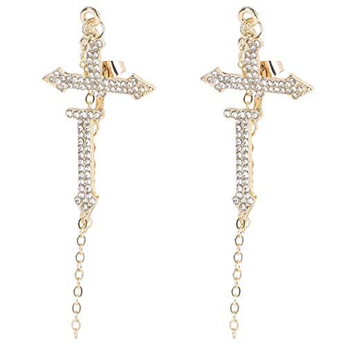 Happyyami 1 par de Pendientes Colgantes de Gota de Diamantes de Imitación Pendientes de Cruz Pendientes de Oreja Retro para Mujeres Niñas Cumpleaños Regalos de Cristiano de Oro