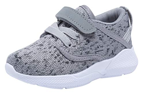 COODO Toddler Kid's Sneakers Boys Girls Cute Casual Running Shoes (4 Toddler,Ash Grey)