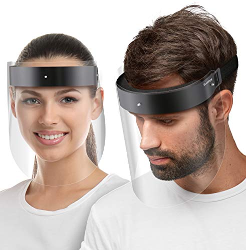 Blumax Visier Gesichtsschutz Schirm - aus robustem Kunststoff – Face Shield – Schutzschild Gesicht - klare Sicht - 5X Halterung + 10 Visiere