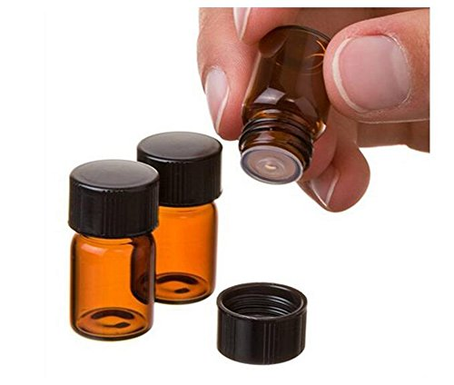 10 STÜCKE 1ml Braunglas Fläschchen Ätherisches Öl Flaschen mit Orifice Reducer und Schwarze Kappe für Ätherische Öle Lab Köln & Parfums (1ml)