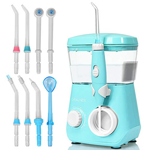 COSTWAY Power Dental Flossers with 9 Jet Tips and 10 Pressure Levels, Dental Oral Irrigator with 360-Degree Rotating Nozzle, Adults and Kids Use, Suitable for Home Family use (Blue)