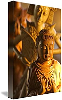 Wall Art Print entitled Myanmar, Statue Of A Wooden Buddha And Indonesian by Design Pics | 7 x 10