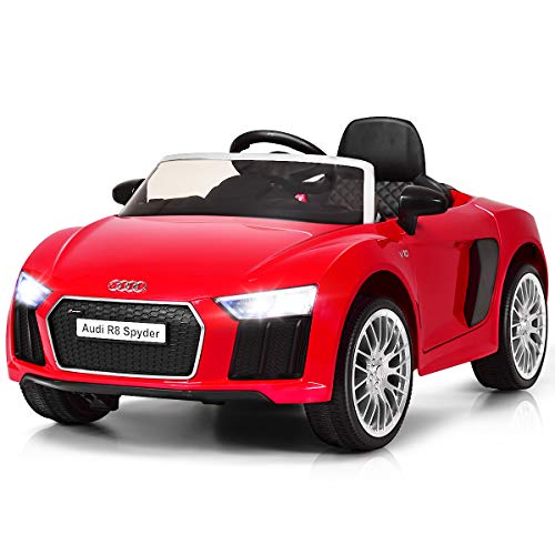 Costzon Kids Ride On Car, Licensed Audi R8 12V Battery Powered Vehicle w/ Remote Control, Double Lockable Doors, 3 Speeds, LED Lights, MP3 Player (Red)