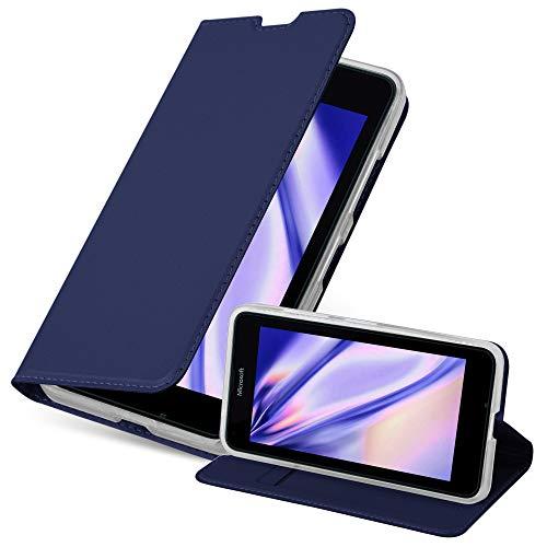 Cadorabo Hülle für Nokia Lumia 640 - Hülle in DUNKEL BLAU – Handyhülle mit Standfunktion & Kartenfach im Metallic Erscheinungsbild - Case Cover Schutzhülle Etui Tasche Book Klapp Style