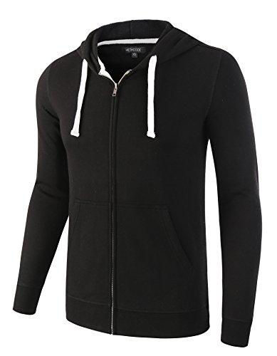 HETHCODE Mens Casual Lightweight Vintage Zip Up Pocket Hoodie Sweatshirt Jacket Black XS