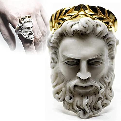 Anillo De MitologíA Griega Medusa Zeus, Anillo con Forma De Cabeza De Anciano Exagerado, Anillo De Escultura Dorada Vintage Regalos 1PCSB