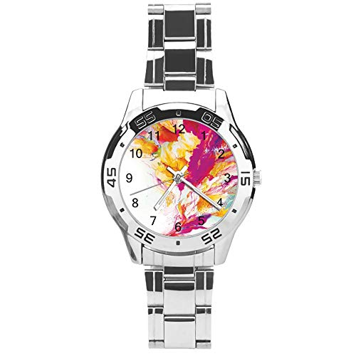 Classic Three Hand Quartz Watch with Stainless Steel Strap,Dial Abstract Art Pattern,Adjustable Automatic Strap,Silver,for Unisex,Best Gift (41mm) l366y5vm0gbk