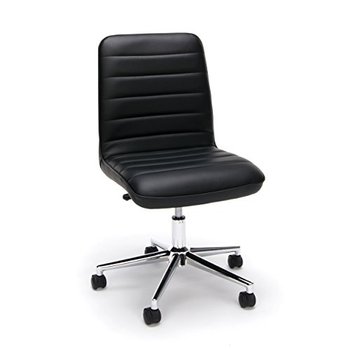 OFM ESS Collection Mid-Back Bonded Leather Armless Chair, in Black (ESS-2080-BLK)