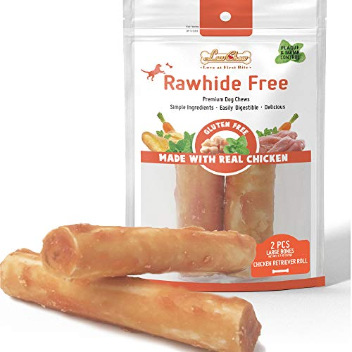 LuvChew Grain Free Rawhide Free Dog Chew Bones Long-Lasting Chicken Retriever Rolls Large 7