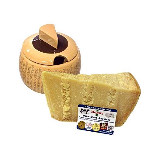 Azienda Agricola BONAT - Parmigiano Reggiano 14/16 Monate 1Kg + Käsebehälter aus Keramik