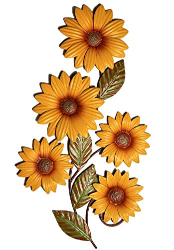 Bee on Bloom Metal Sunflower Wall Decor 25 Inches for Indoors and Outdoors   Perfect Sunflower Decor for Porch, Patio, Kitchen   Rustic Yellow Individually Hand Painted Petals