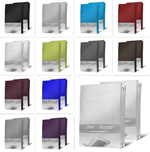 one-home 2er Pack Microfaser Spannbettlaken Spannbetttuch Betttuch mit Rundumgummi Set, Farbe:Weiß, Maße:90x200 cm - 100x200 cm
