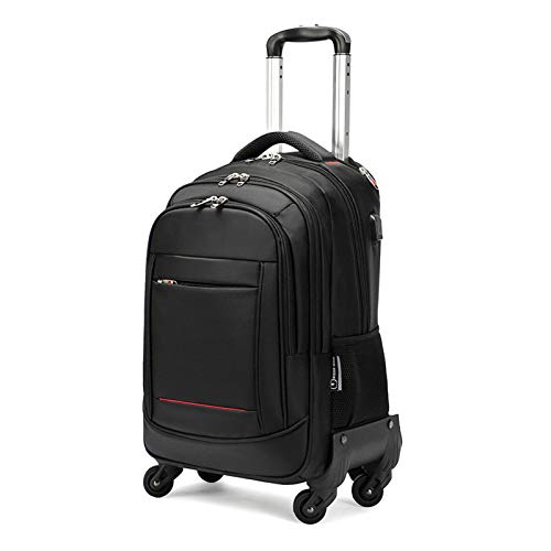 FREETT Travel Trolley Backpack, Laptop Luggage Case with Wheeled and USB Charging Port, Student Trolley Suitcase for School, University, Waterproof, Black,39 * 27 * 53cm