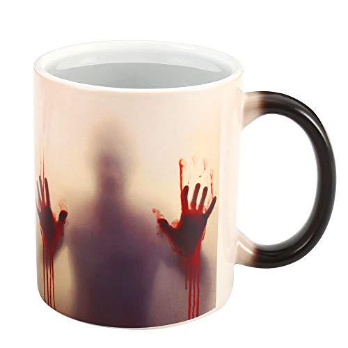 elfisheu Keramik Tasse mit Thermoeffekt Halloween Deko Horrorgeschichte Walking Dead Magische Becher Farbwechsel Tasse Kaffeetasse Halloween Geschenke (Walking Dead)