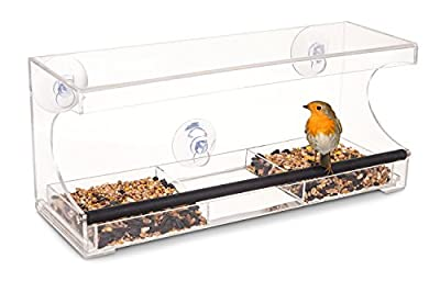 LIVIVO ? Large 3 Compartment Window Bird Feeder - Hanging Clear Acrylic Seed and Drinking Water Perch with Heavy Duty Suction Cups and Removable Tray for Easy Cleaning - No Assembly Required from LIVIVO