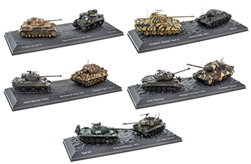 OPO 10 - Lotto di 5 scatole di 2 Carri Armati Militari 1/72: Panther Sherman Tiger M26 M41 Panzerjäger T34 / 76 (5T)