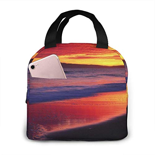 TTmom Sunset at The Seaside Lunch Bag Reusable Insulated Cooler Tote Box with Front Pocket Zipper Closure for Woman Man Work Pinic Or Travel