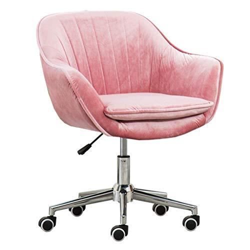 QQXX Home Office draaistoel computer Task Desk Office Modern Velvet Elastic spons gewatteerd ergonomisch in hoogte verstelbaar, 45x46-58cm, roze-