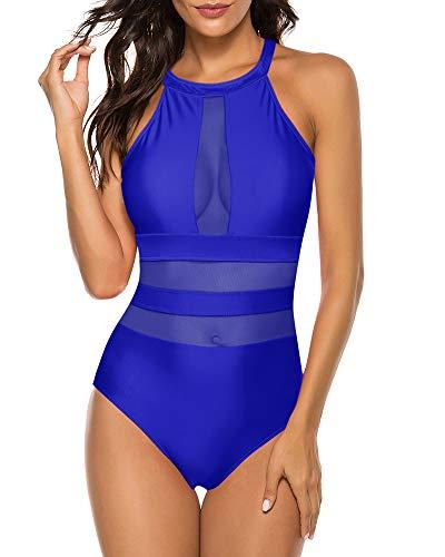 Urchics Womens Classic One Piece Monokini High Neck Mesh Plunge Swimsuit Swimwear Blue L