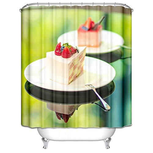 Ukilook Cortinas de ducha de poliéster con ganchos, pastel de fresa, divertido paño de ducha, cortina de ducha lavable, cortina de ducha de poliéster, peso ligero, calidad de hotel