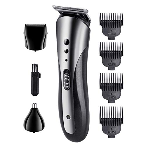 Decdeal Mens Beard Trimmer - Professional Cordless Nose Hair Trimmer for Men - 3 in 1 Hair Clippers Hair Cutting Grooming Kit with 4 Limit Combs