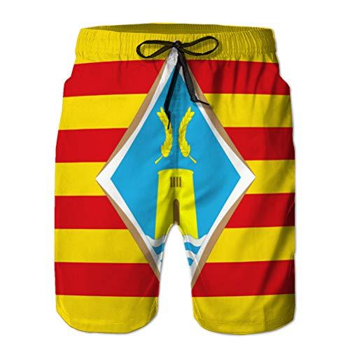 jiilwkie Hombres Cordón Elástico Cintura Traje de baño Shorts de Playa Bandera de Formentera de paca XL