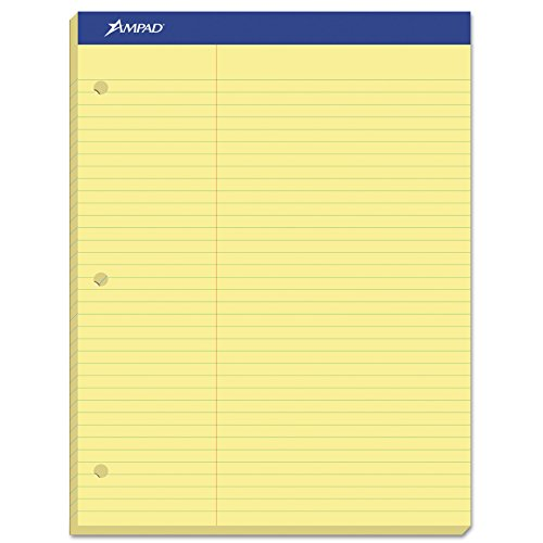 Ampad 20245 Double Sheets Pad, Law Rule, 8 1/2 x 11 3/4, Canary, 100 Sheets 3 Hole Dual Pad