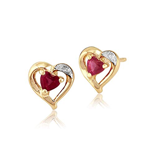 Gemondo Women 375 Gold 9ct Yellow Gold Heart Ruby Classic Heart Stud Earrings Red With Diamond Accents
