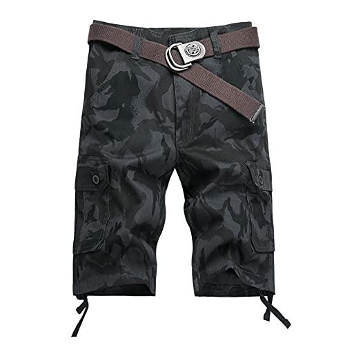Peklokokw Cargo Bermuda - Pantalón corto para hombre, diseño de camuflaje, E-negro., M