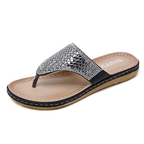 Frauen Sommer Flache Sandalen Boho Perlen Flip Flops Beige 38 EU / 39 CN