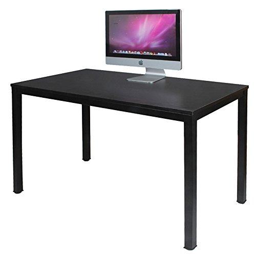 DlandHome 120 x 60 cm Computertisch Schreibtisch, anständig und Stabil, Holz, Moderner Bürotisch Arbeitstisch PC Laptop Tisch für Büroarbeit und Hausaufgaben, Schwarz & Schwarz