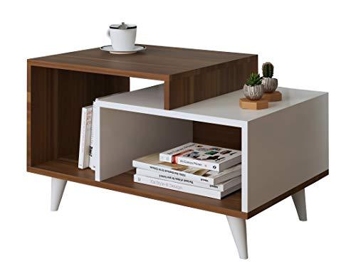 HOMIDEA Sage Tavolino Basso da Salotto - Tavolino da Divano - Tavolino da caffè Moderno in Un Design alla Moda (Noce - Bianco)