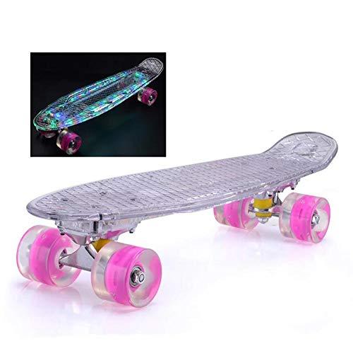 hdfj12142 Patineta de 22 Pulgadas, patineta Cruiser para niñas, Material Transparente LED, Cubierta de patineta Brillante, Mini patineta para niños de 12 años, Principiantes-Transparente
