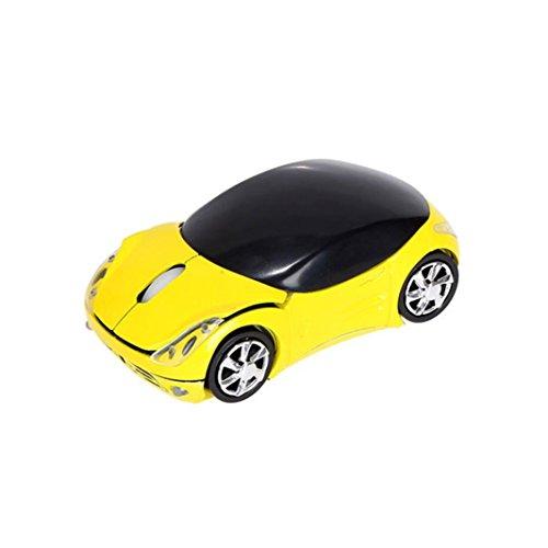 WINWINTOM Moderno 2.4GHz 1200DPI coche forma óptica sin hilos ratón USB scroll en forma de ratones para Tablet ordenador portátil (Amarillo)