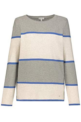 GINA LAURA Damen Pullover, Streifen, Seitenschlitze, Reine Baumwolle Jeansblau XXL 727040 76-XXL